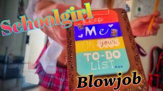 Schoolgirl gives a nice blowjob